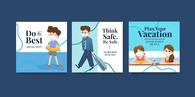 Szablon reklamy z koncepcją zapobiegania covid-19 dla nowego, normalnego stylu życia.