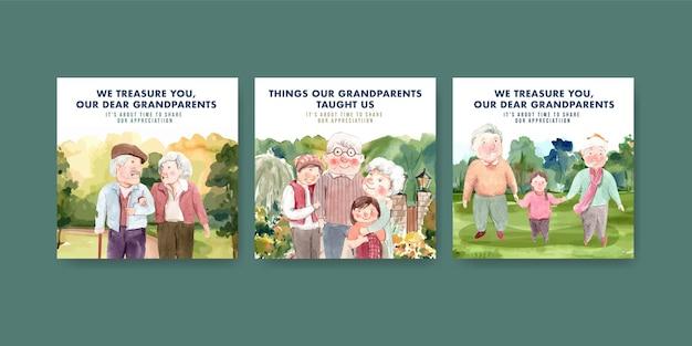 Szablon reklamy z projektem koncepcyjnym krajowego dnia dziadków do reklamy i marketingu akwareli.