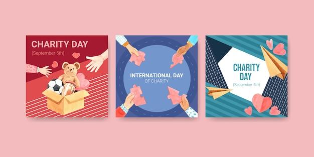 Szablon reklamy z projektem koncepcyjnym międzynarodowego dnia miłości do reklamy i marketingu akwareli.