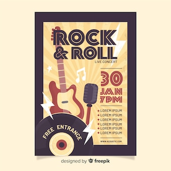 Szablon retro plakat rock and rolla