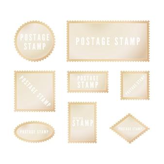 Szablon retro znaczka pocztowego z cieniem