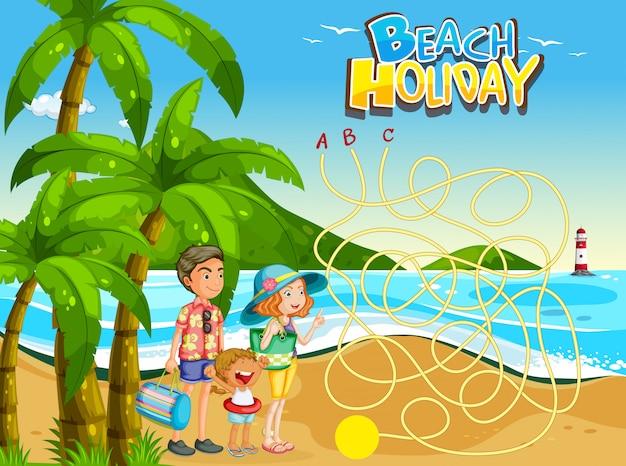 Szablon rodzinny plaży gry