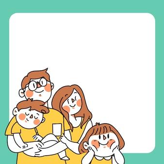 Szablon rodziny doodle ilustracji