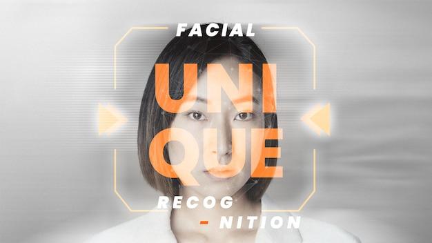 Szablon rozpoznawania twarzy wektor futurystyczna technologia