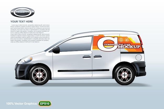Szablon samochodu dostawczego. przykładowe logo, edytowalny układ.