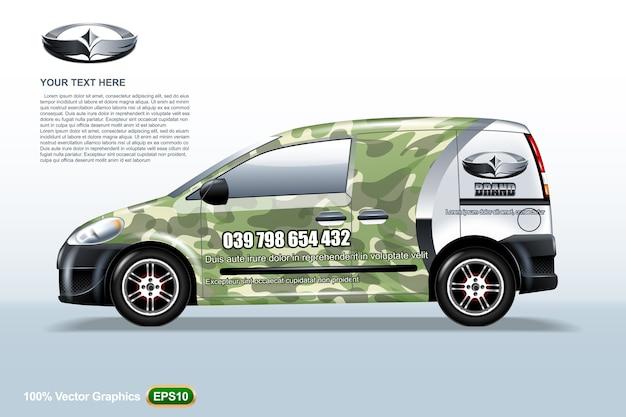 Szablon samochodu dostawczego. z broń wojskową i logo, edytowalny układ.