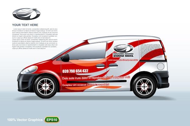 Szablon samochodu dostawczego. z logo i czerwonymi pasami, edytowalny układ.