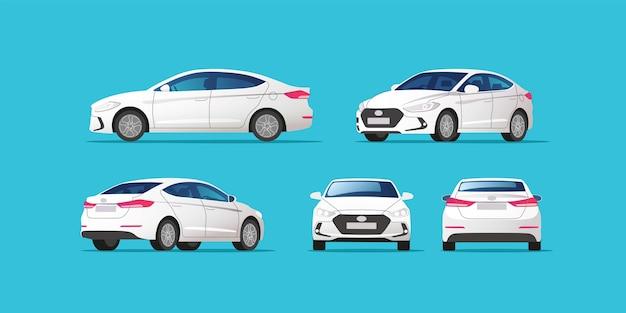 Szablon samochodu na białym tle. sedan na białym tle.