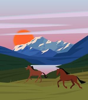 Szablon scenerii przyrody kolorowy wschód słońca