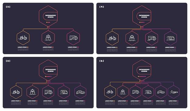 Szablon schematów infografika cienka linia