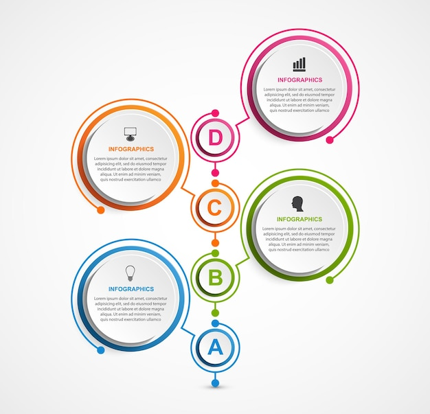 Szablon schematu organizacyjnego projektu infografiki do prezentacji biznesowych