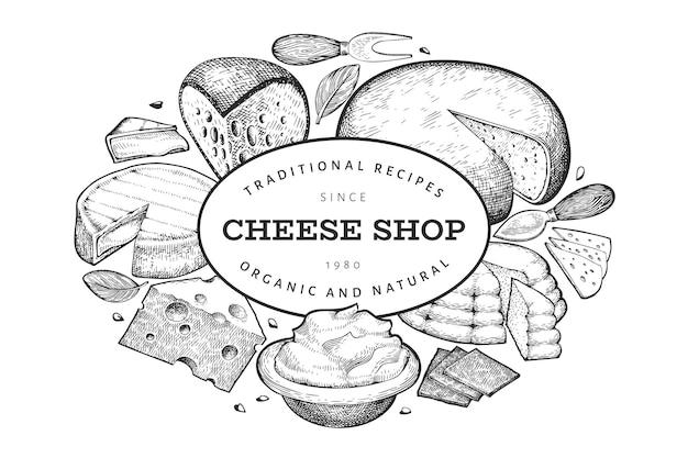 Szablon sera. ręcznie rysowane ilustracja nabiał. grawerowane różne rodzaje serów. tło vintage żywności.