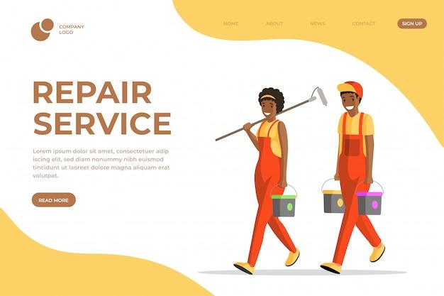 Szablon serwisu płaskiej strony docelowej usługi naprawy. profesjonalni malarze, robotnicy i majsterkowicze w kombinezonach postaci z kreskówek. remont mieszkania firma serwis strony układ strony