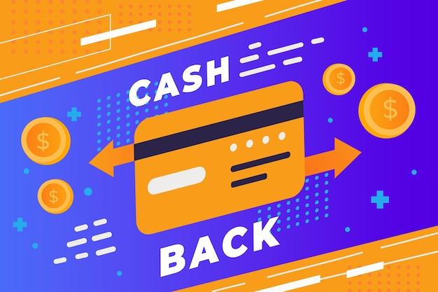 Szablon sieci web banner cashback i karta kredytowa