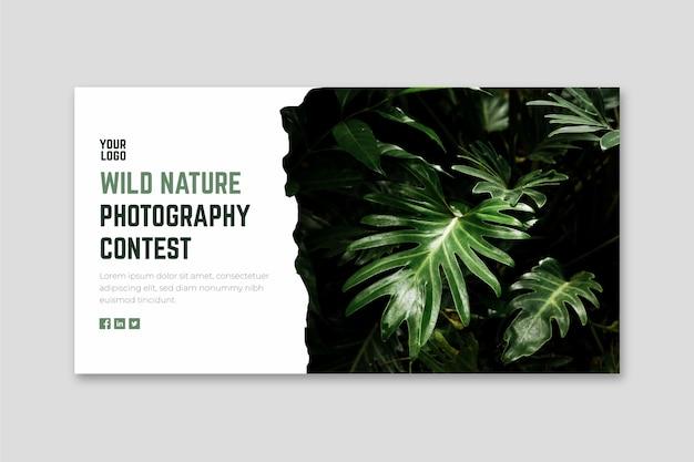 Szablon sieci web banner konkursu fotografii dzikiej przyrody