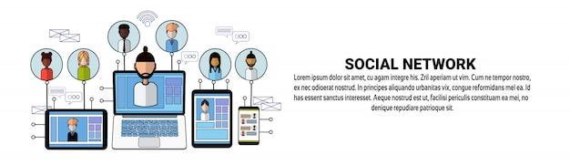 Szablon sieci web banner społecznej sieci koncepcja połączenia sieci biznesowych