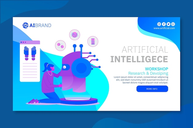 Szablon sieci web banner sztucznej inteligencji