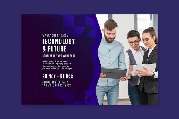 Szablon sieci web banner technologii i przyszłości biznesu