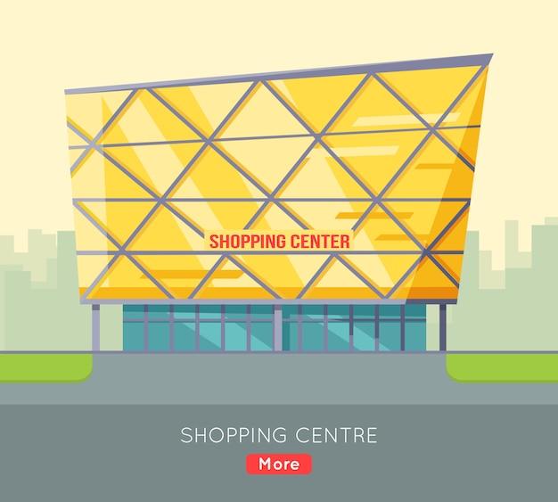 Szablon sieci web centrum handlowego w płaskiej konstrukcji.