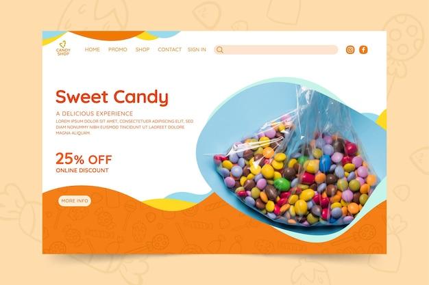 Szablon sieci web cukierków ze zdjęciem