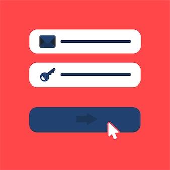 Szablon sieci web i elementy do formularza witryny e-mail zapisz się, biuletyn lub zaloguj się do konta, prześlij. wektor