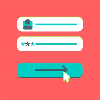 Szablon sieci web i elementy do formularza witryny e-mail zapisz się, biuletyn lub zaloguj się na konto, prześlij. wektor