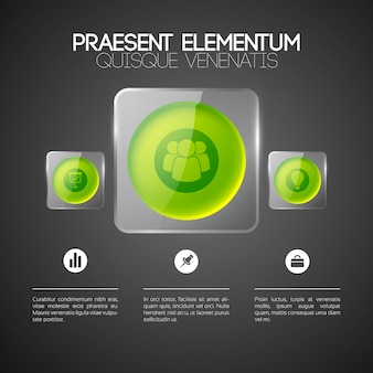 Szablon sieci web infografika z ikonami biznesu trzy zielone okrągłe przyciski w szklanych kwadratowych ramkach