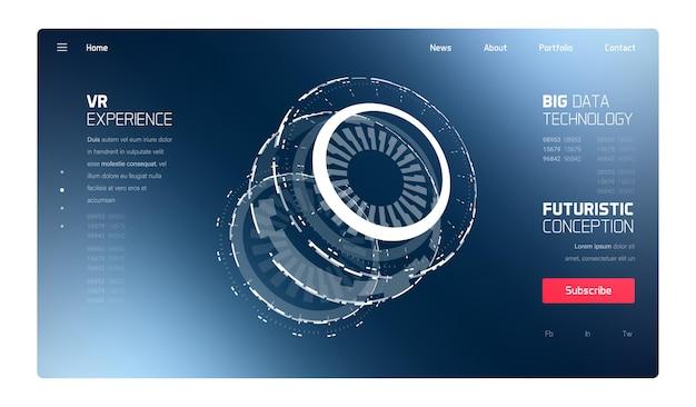 Szablon sieci web interfejsu hud 3d futurystycznej technologii