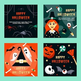 Szablon sieci web post na instagramie halloween