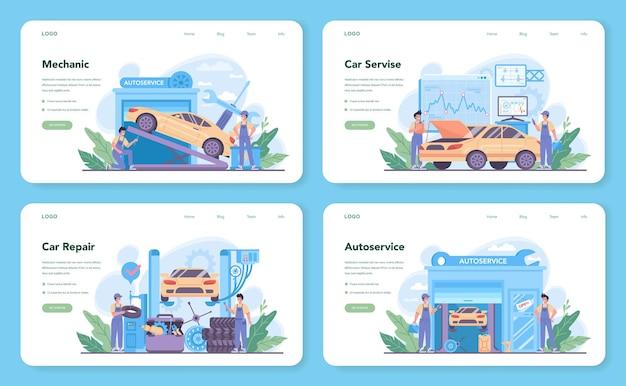 Szablon sieci web serwisu samochodowego lub zestaw strony docelowej. ludzie naprawiają samochód