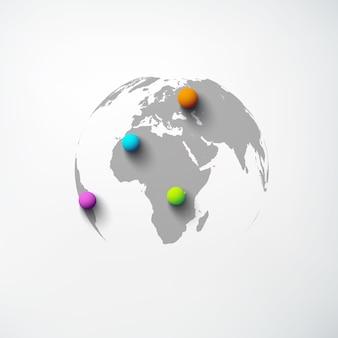 Szablon sieci web streszczenie świata z kulą ziemską i kolorowe szpilki okrągłe na białym tle