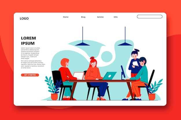 Szablon sieci web strony docelowej coworkingu