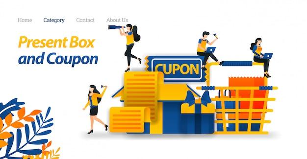 Szablon sieci web strony docelowej dla obecnych wzorów pudełek z różnymi akcesoriami, kuponami na prezenty i koszykiem.