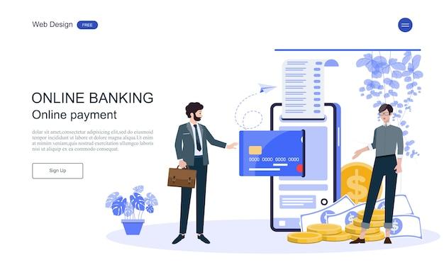 Szablon sieci web strony docelowej koncepcja biznesowa dla bankowości internetowej, transakcja finansowa.
