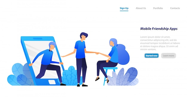 Szablon sieci web strony docelowej. ludzie wychodzą z telefonu i zapraszają na spotkanie. przyjaźń, wprowadzenie i kojarzenie.