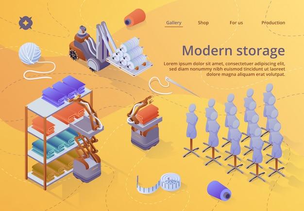 Szablon sieci web strony docelowej. nowoczesny sprzęt do przechowywania w fabryce tekstyliów