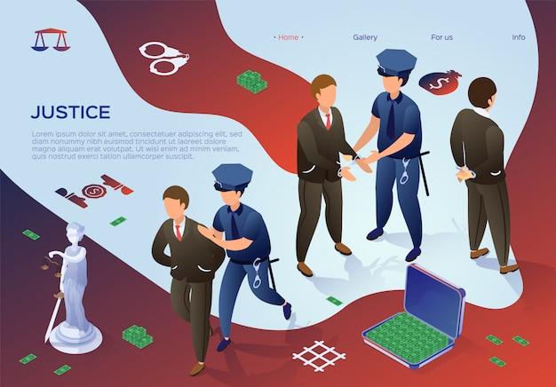Szablon sieci web strony docelowej. sprawiedliwość, urzędnicy aresztujący mieszkanie.