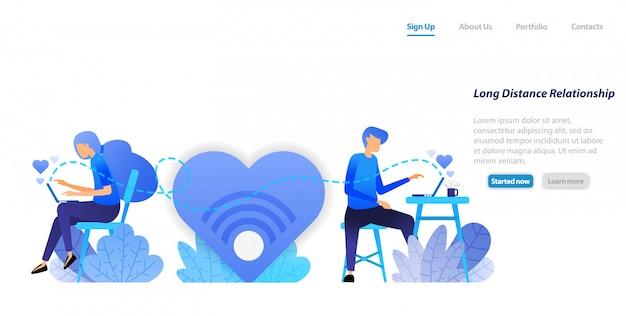 Szablon sieci web strony docelowej. wysyłaj czat z dużymi wiadomościami miłosnymi z relacji długodystansowych para komunikacja z laptopem stacjonarnym