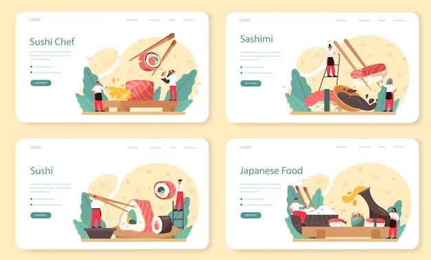 Szablon sieci web szefa kuchni sushi lub zestaw strony docelowej. szef kuchni restauracji gotuje rolki i zestaw sushi. pracownik zawodowy w kuchni. odosobniony