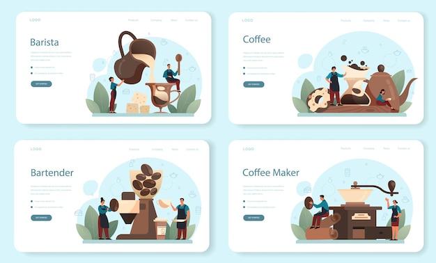 Szablon sieciowy barista lub zestaw stron docelowych. barman robi filiżankę gorącej kawy. energetyczny smaczny napój do śniadania z mlekiem. americano i cappuccino, espresso i mokka. ilustracji wektorowych