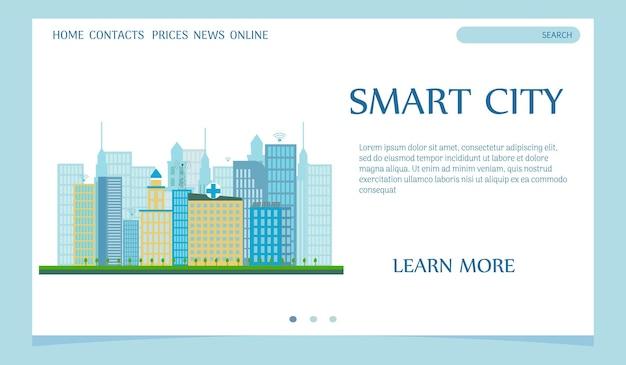 Szablon sieciowy koncepcji inteligentnego miasta na stronie docelowej