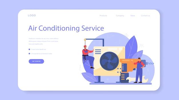 Szablon sieciowy lub strona docelowa usługi naprawy i instalacji klimatyzacji. mechanik instalujący, badający i naprawiający kondycjoner za pomocą specjalnych narzędzi i sprzętu. ilustracja na białym tle wektor