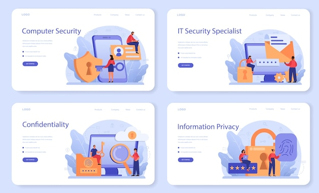 Szablon sieciowy lub zestaw stron docelowych specjalisty ds. cyberbezpieczeństwa lub bezpieczeństwa sieci.