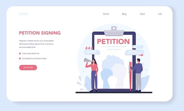 Szablon sieciowy petycji lub strona docelowa.