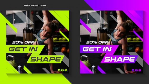 Szablon siłowni kwadratowych banner fitness premium