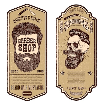 Szablon sklepu fryzjerskiego. czaszka fryzjera i narzędzia grunge