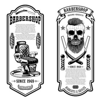Szablon sklepu fryzjerskiego. dżentelmen, krzesło fryzjerskie i narzędzia.