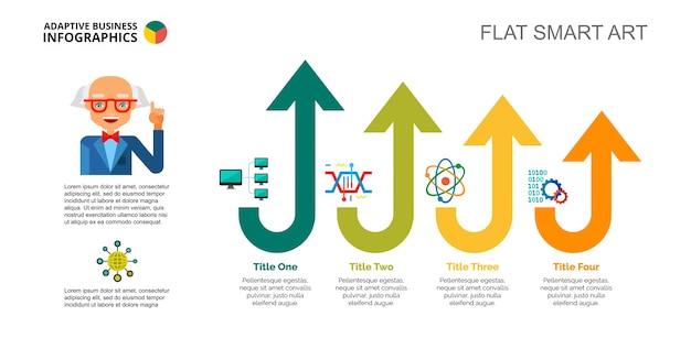 Szablon slajdu czterech strzałek technologii