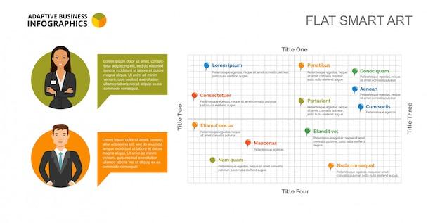 Szablon slajdu wykresu rozproszonego
