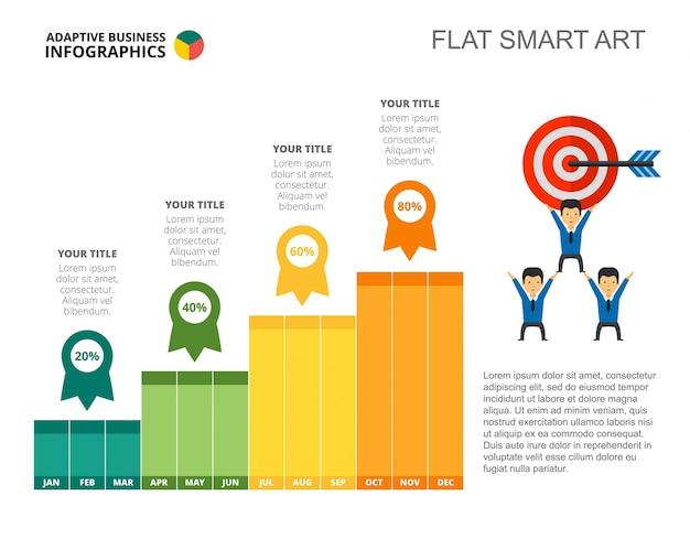 Szablon slajdu wykresu słupkowego sukcesu firmy